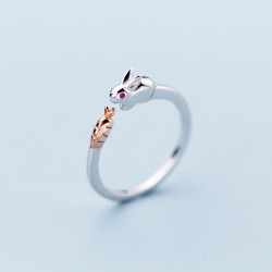 Cute Rabbit Open Rings Girls Adjustable Open Animal Jewelry Gifts Silver Ring