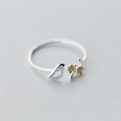 Sweet Golden Flower Leaf Branch Ring Hollow Bird Open Silver Ring Jewelry Gift For Girl Ring