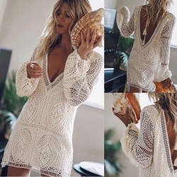 Fashion White Loose Hollow Lace Deep V Summer Long Sleeve Backless Beach Dress