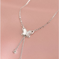 Cute Hollow Butterfly Silver Women's Necklace Tassel Jewelry Gift For Her Animal Necklace