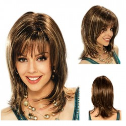 Cute Brown Gradient Light Golden Bangs Long Slightly Curly Hair Hood Teen Hair Wig