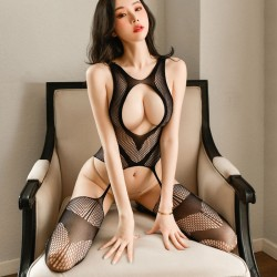 Sexy Hollow out Breasts Open Stockings Bodysuit Teddy For Women One Piece Lingerie Black See-through Temptation Bodystocking