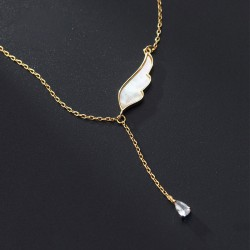 Romantic Jewelry Single Wings Crystal Feather Tassel Pendant Necklace For Women Silver Necklace