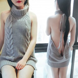 Backless Turtleneck Cosplay Sexy Women's Halter Sweater