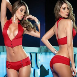 Sexy Big Boob Uniform Temptation Backless Sexy Bikini Lady's V-neck Halter Lingerie