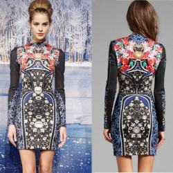 Retro Royal Vase Floral Printing High Collar Slim Long Sleeve Dress