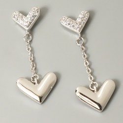 Romantic Heart-shaped Hanging Polished Heart Women's Silver Earring Studs Eardrop