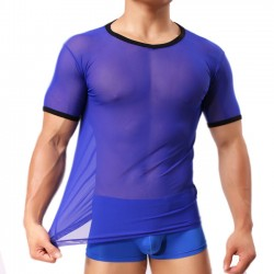 Sexy Men's Mesh See Through Whole Color Zephyr Sport T-shirt Men's Lingerie