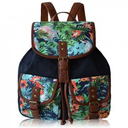 babeb09e6cc7 National Colorful Flowers Printing Backpack Two Pockets Floral PU Girl s Canvas  School Backpack