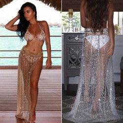 Sexy Beach Smock Split Bandages Sparkle Skirt Summer Sequin Dress