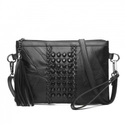 Punk Messenger Bags Weave Ladies Leather Braided Rivets Handbags Shoulder Bag