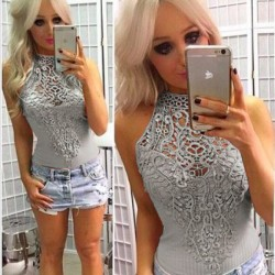 Fashion Sleeveless Body-con Lace Hollow Crochet Flower Shirts Women's Tops