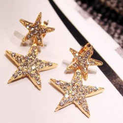 Fashion Diamond-bordered Double Stars Women's Cute Ear Drop Earring Studs