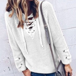 Lace-up V-neck Leisurely Fashion Women's Sweater
