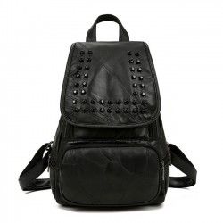 Punk Black Rivet College Student Backpack