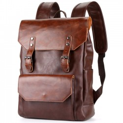 Retro Brown Strap Large Flap Metal Lock Belt Square Men's School Backpack