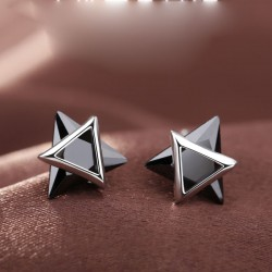 Cute Double Triangle Silver Zircon Personality Earrings Studs
