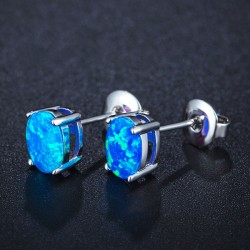 Unique Steel Round Gem Cubic Zirconia Women's Stainless Earring Studs