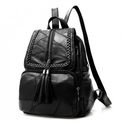 Leisure Women's Black Leather School Bag Large Weave Tassel Backpack