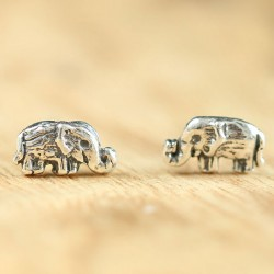 Bohemian National Style Retro Handmade Cute Elephant Silver Women Earring Studs