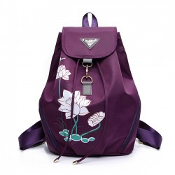 Unique Folk Style Women's Lotus Printed Nylon Flower School Backpack