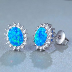 Retro Stainless Steel Round Gem Cubic Bohemia Women's Earring Studs