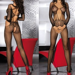 Sexy Women's Mesh See Through Hollowed-out Jacquard One-piece Split Briefs Lingerie