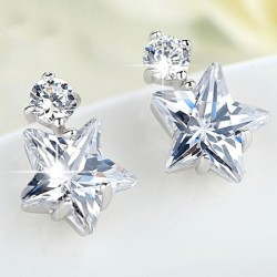 Cute Crystal Diamond-bordered Women Eardrop Star Silver Earring Studs