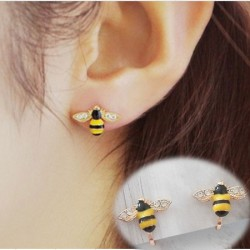 Cute Gold Plated Bee Diamond-bordered Wings Cartoon Women Animal Ear Clip