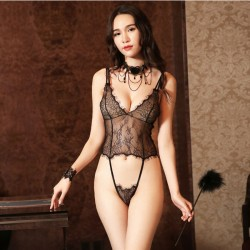 Sexy Pajamas Transparent Women Backless Lace Conjoined Sling Intimate Lingerie