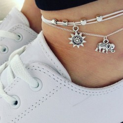 Fashion Elephant Sun Three Tier Multi-layer Ladies Anklet Foot Accessory Anklet