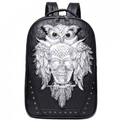 Cool 3D Skull Owl Rivets Large Rivet Travel Punk PU Animal Backpack