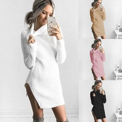 Sexy Split High Collar Long Sleeve Winter Women's Sweater Dress
