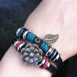 Retro Leaf Rose Leather Bracelet