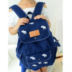 Lovely Leisure White Deer Canvas Backpack