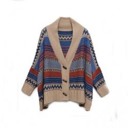 Folk Style Geometry Bat Sleeve Sweater &Cardigan