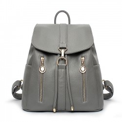 Causal Soft Leather Travel Rucksack Zipper Women's Shopping Backpacks