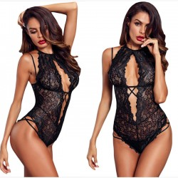 Sexy Lace Black Flower Underwear Temptation Conjoined Women Intimate Lingerie