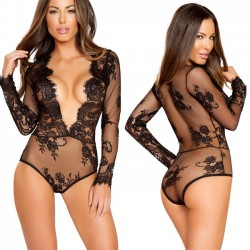 Sexy Black Flower Lace Conjoined Long Sleeve V Temptation Women Intimate Lingerie