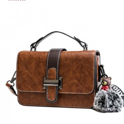 Retro Simple Messenger Bag Single Buckle Bear Decor Shoulder Bag