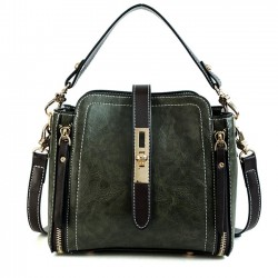 Retro Double Zippers Single Buckle Shoulder Bag Women Handbag