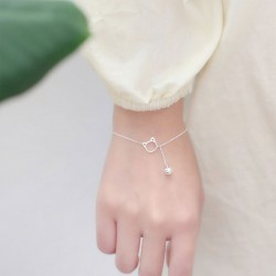 Lovely Lover Gift Accessories Cat Tassel Women Bracelet Kitten Head Bell Silver Bracelet