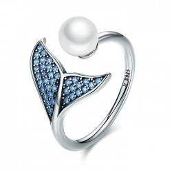 Lovely Mermaid Tail Pearl Zircon Open Women Silver Ring