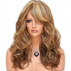 Fashion Curls Big Wave Gradient Brown Women Hair Wig