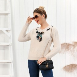 Leisure Pure Color Fluff Slim Bottoming Long-sleeve Cardigan Knit V-neck Bow Women Sweater