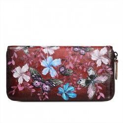 Retro Flower Leaves Embossing Large Long Wallet Women Cowhide Butterfly Purse Phone Clutch Bag