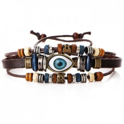 Retro Ethnic Eyeball Multi-layer Adjustable Eye Beaded Hand-woven Leather Bracelet