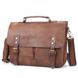 Retro Leather Men's Briefcase Double Buckle Large Business Bag Shoulder Bag