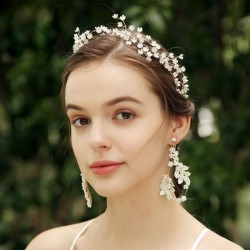 Sweet Handmade Bridesmaid Small Flower Branch Wedding Crystal Hair Band Bride Hair Accessories