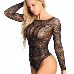 Sexy Siamese Flash Fishnet Long Sleeve Conjoined Intimate Women's Lingerie